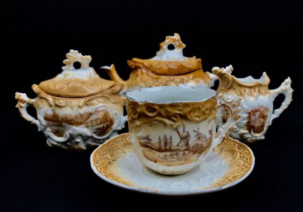 Antique German Tea Set For One / Brown & Cream / Rural Scenes